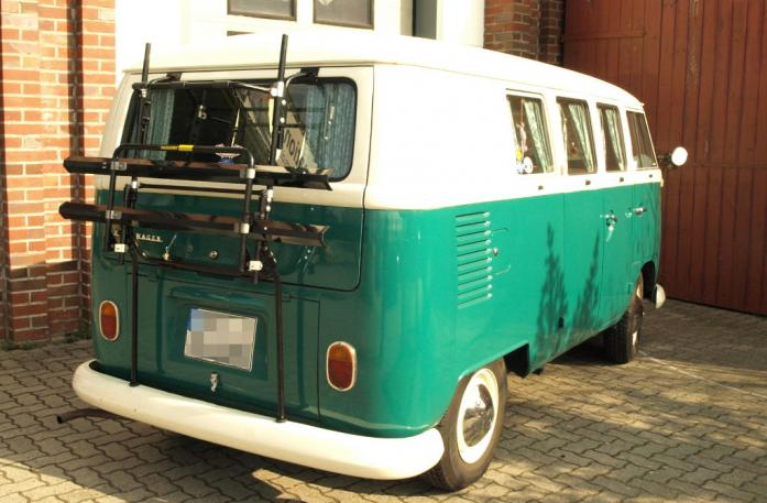 Volkswagen Bus T1/T2 Bike carrier in standby position