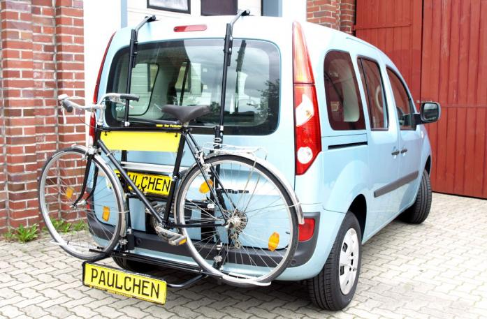 Renault Kangoo (KW) Bike carrier with comfort load extension and loaded bike. Without trailer hitch!