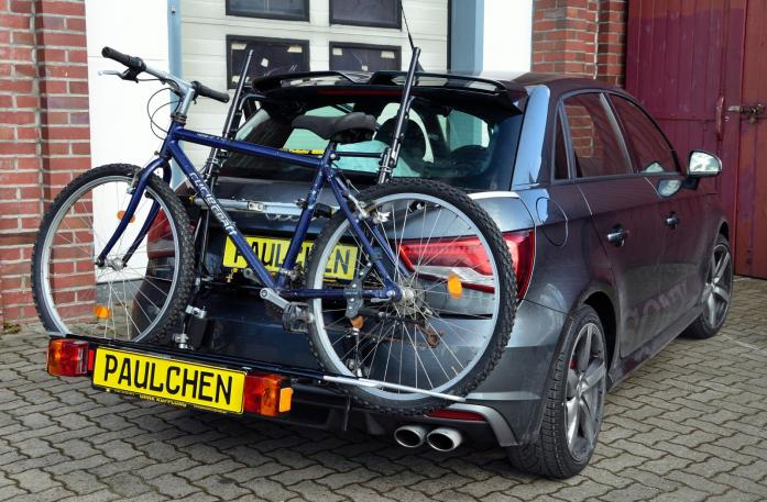Audi S1 Bike carrier with comfort load extension and loaded bike. Without trailer hitch!