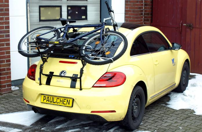 Volkswagen Beetle Bike carrier loaded with bike