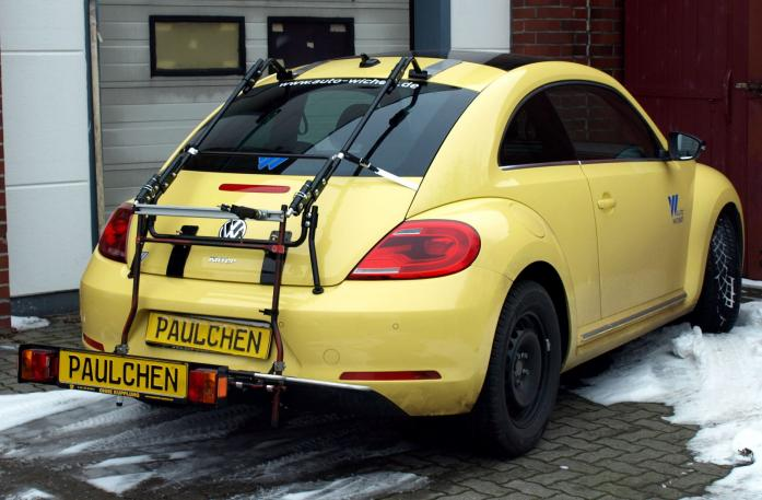 Volkswagen Beetle Bike carrier with comfort load extension in loading position. Without trailer hitch!