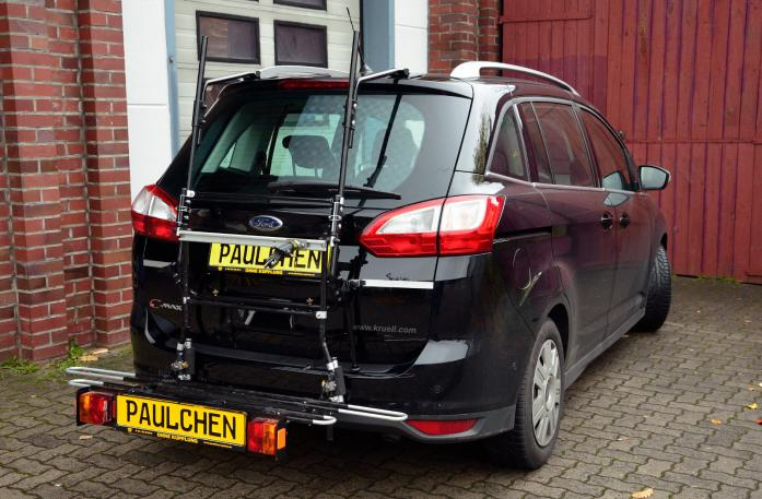 Ford Grand C-Max, Bike carrier with comfort load expansion in loading position. Without trailer hitch!