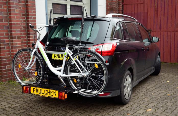 Ford Grand C-Max, Bike carrier with comfort load expansion and loaded bike. Without trailer hitch!