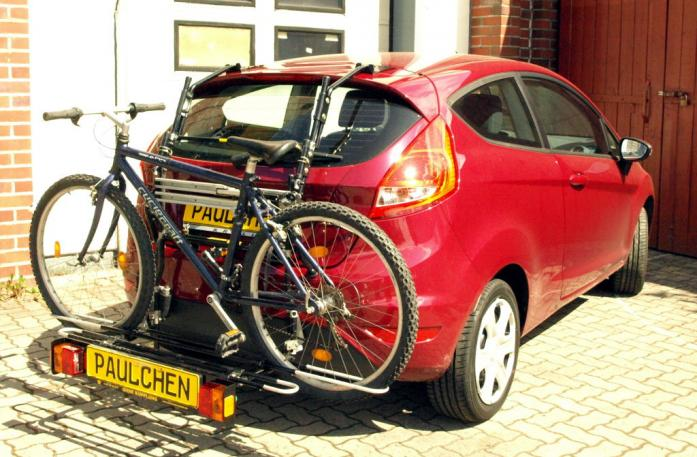 Ford Fiesta VI Bike carrier with comfort load extension and loaded bike. Without trailer hitch!