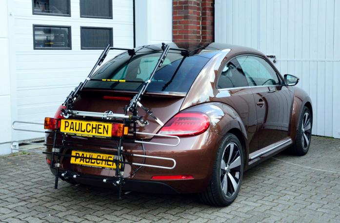 Volkswagen Beetle Bike carrier with comfort load extension in standby position. Without trailer hitch!