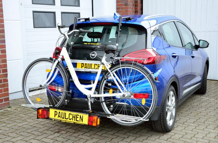 Opel Ampera E Bike carrier with comfort load extension and loaded bike. Without trailer hitch!