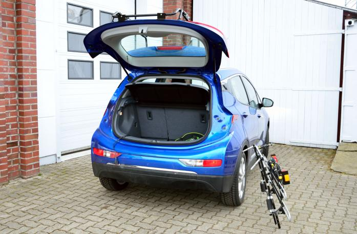 Opel Ampera E Bike carrier with open tailgate and mounted carrier