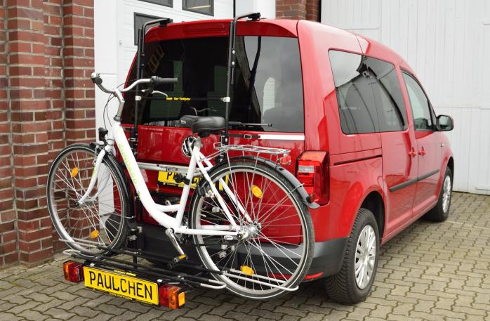 Volkswagen Caddy IV (SA) Bike carrier with comfort load expansion and loaded bike. Without trailer hitch!