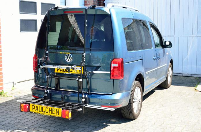 Volkswagen Caddy IV Bike carrier with comfort load expansion in loading position. Without trailer hitch!