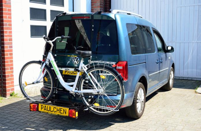 Volkswagen Caddy IV Bike carrier with comfort load expansion and loaded bike. Without trailer hitch!