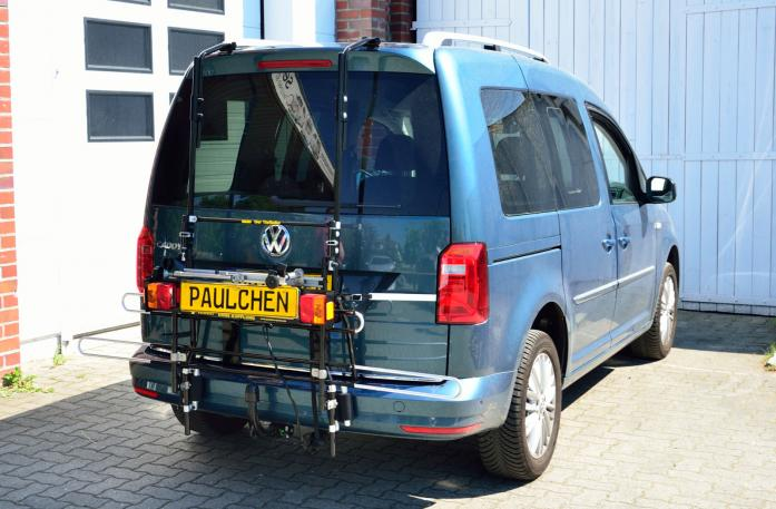 Volkswagen Caddy IV Bike carrier with comfort load expansion in standby position. Without trailer hitch!