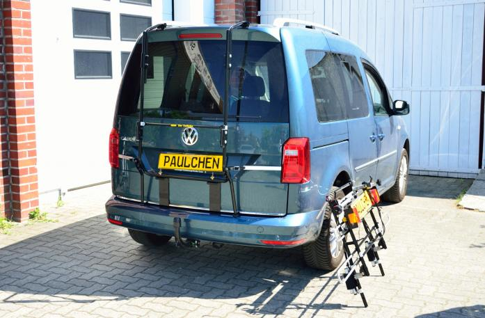Volkswagen Caddy IV Bike carrier with separated comfort load expansion.