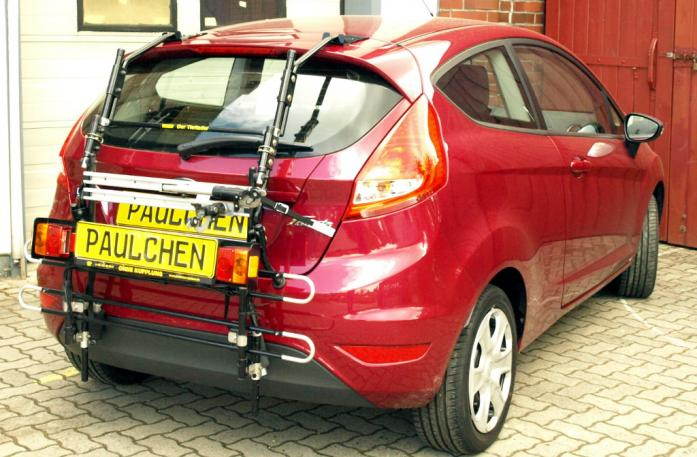 Ford Fiesta VI Bike carrier with comfort load extension in standby position. Without trailer hitch!