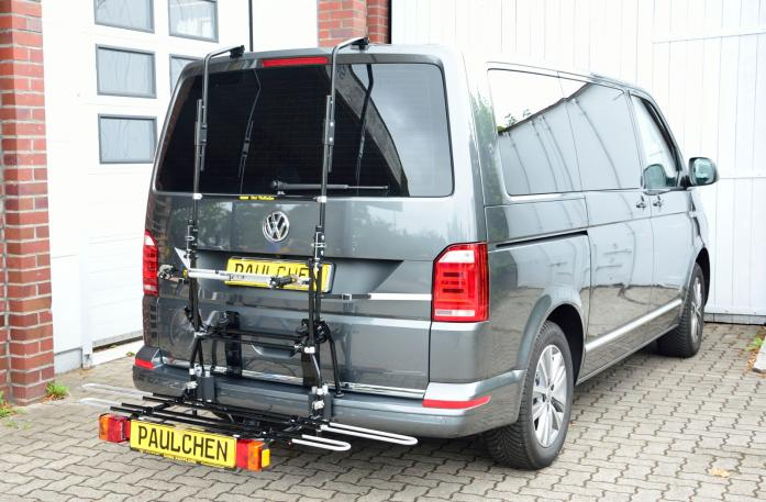Volkswagen Bus T6 Bike carrier with comfort load expansion in loading position. Without trailer hitch!
