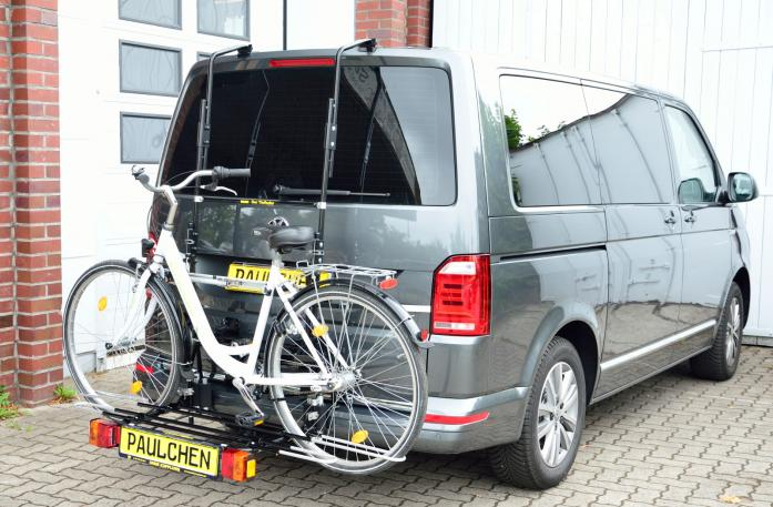 Volkswagen Bus T6 Bike carrier with comfort load expansion and loaded bike. Without trailer hitch!