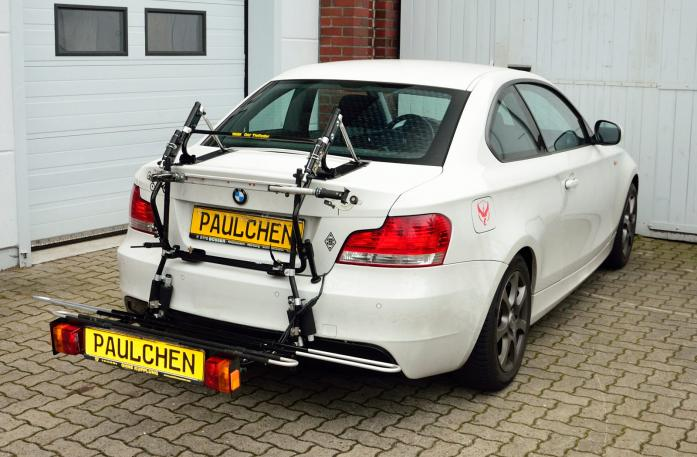 BMW 1er Coupé (E82) Bike carrier with comfort load expansion in loading position. Without trailer hitch!