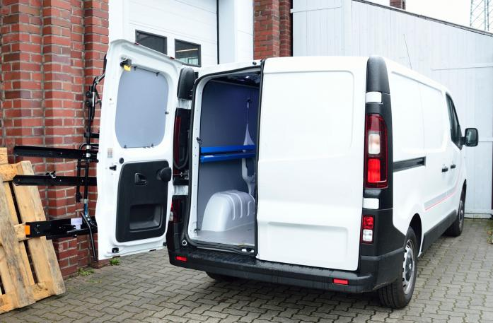 Nissan NV300 Bike carrier with open tailgate and mounted carrier