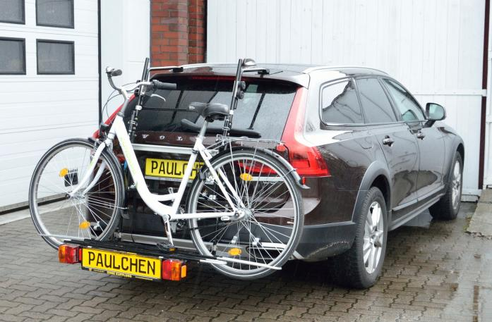 Volvo V90 Bike carrier with comfort load expansion and loaded bike. Without trailer hitch!