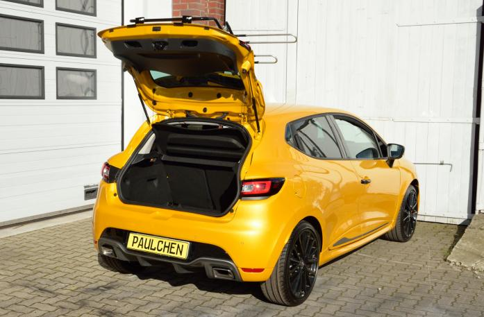 Renault Clio IV RS Bike carrier with open tailgate and mounted carrier