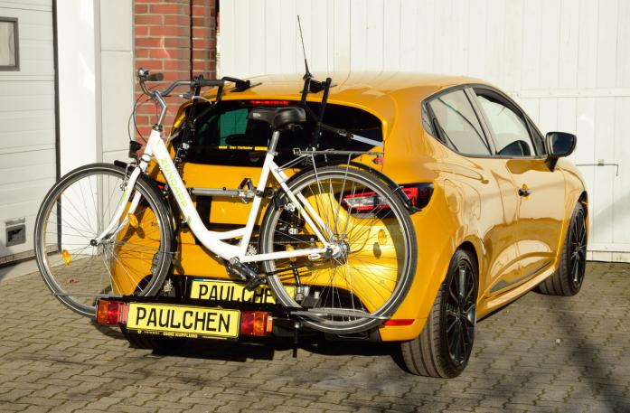 Renault Clio IV RS Bike carrier with comfort load expansion and loaded bike. Without trailer hitch!