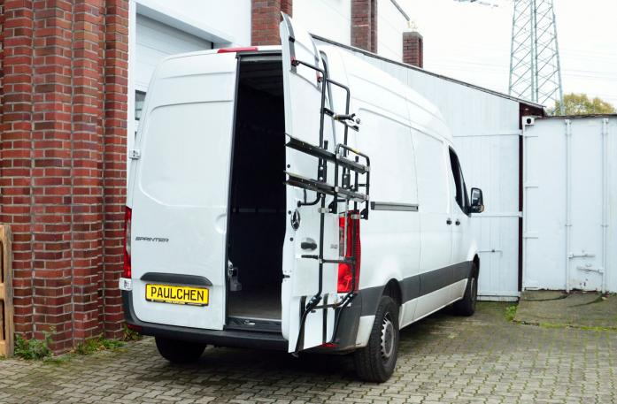 Mercedes Sprinter L1H2 + L2H2 (907) Bike carrier with open tailgate and mounted carrier