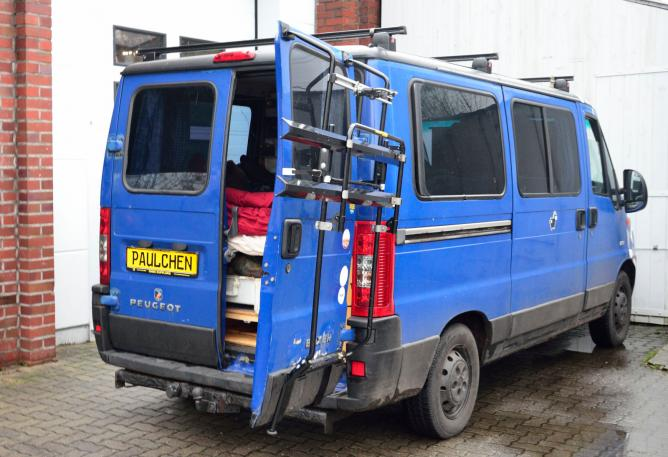 Fiat Ducato Facelift Bike carrier with open tailgate and mounted carrier