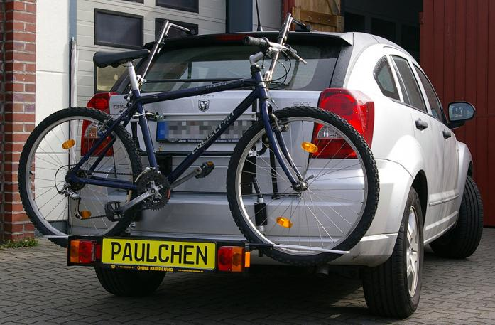 Dodge Caliber Bike carrier with comfort load extension and loaded bike. Without trailer hitch!