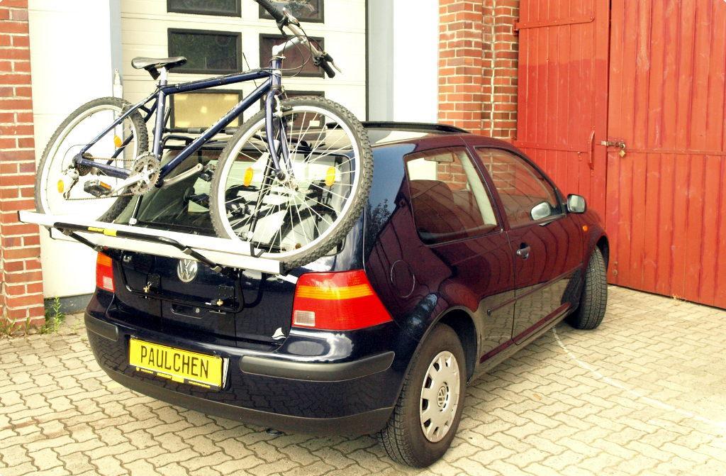 volkswagen golf iv fahrradtr ger am heck paulchen hecktr ger system fahrradtr ger. Black Bedroom Furniture Sets. Home Design Ideas