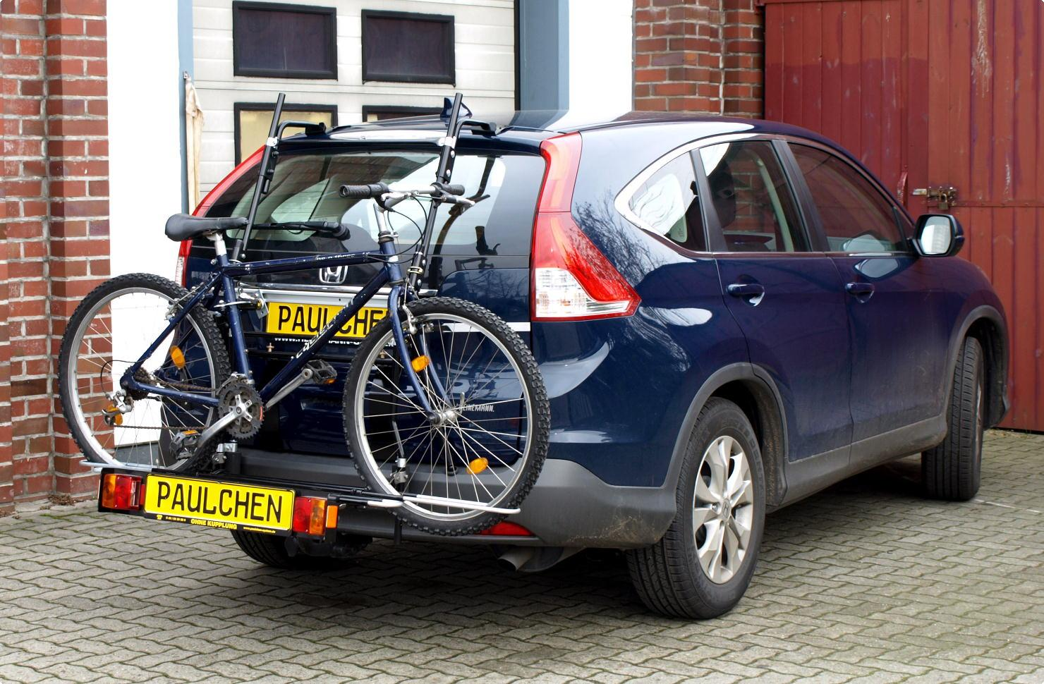 Honda Cr V Iv Re Bike Carrier With Comfort Load Extension And Loaded Bike Without Trailer Hitch