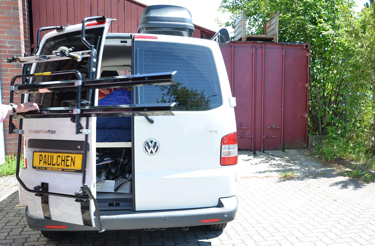 volkswagen bus transporter t5 fahrradtr ger am heck. Black Bedroom Furniture Sets. Home Design Ideas