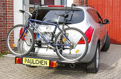 Nissan Murano (Z50) Bike carrier with comfort load extension and loaded bike. Without trailer hitch!