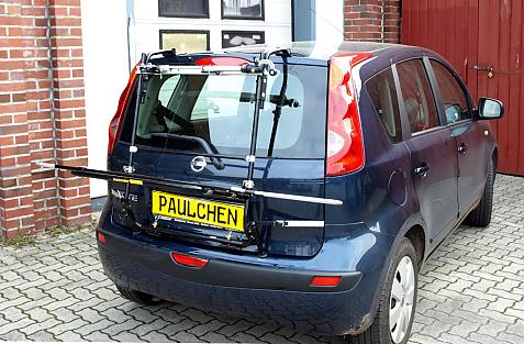 Nissan Note (E11) Bike carrier with light bar in loading position