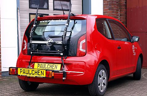 Volkswagen up! Bike carrier with comfort load extension in loading position. Without trailer hitch!