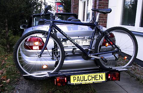 Volvo C 70 Cabrio Bike carrier with comfort load extension and loaded bike. Without trailer hitch!