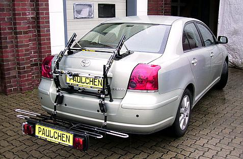 Toyota Avensis Stufenheck (T25) Bike carrier with comfort load extension in loading position. Without trailer hitch!