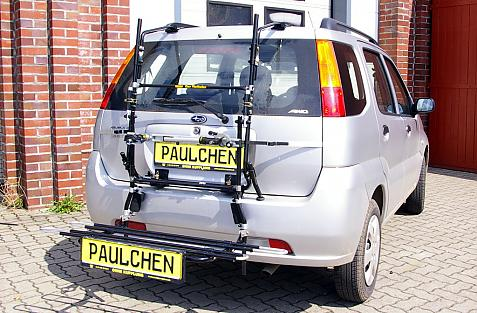 Subaru Justy III (G3X) Bike carrier with comfort load extension in loading position. Without trailer hitch!