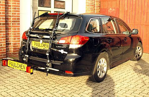 Subaru Legacy V Station Bike carrier with comfort load extension in loading position. Without trailer hitch!