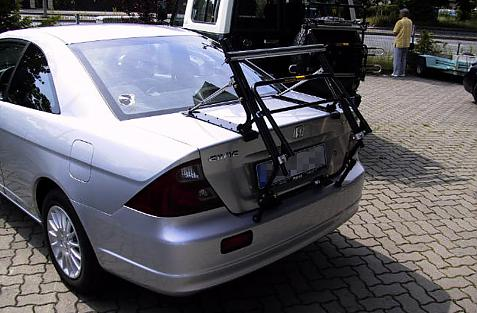 Honda Civic Coupe Bike carrier in standby position