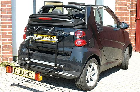 Smart Smart fortwo Cabrio (451) Bike carrier with comfort load extension in loading position. Without trailer hitch!