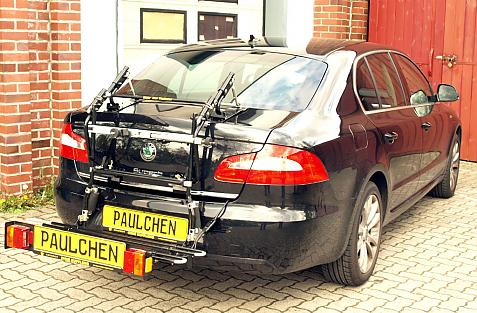 Skoda Superb Limousine (3T4) Bike carrier with comfort load extension in loading position. Without trailer hitch!