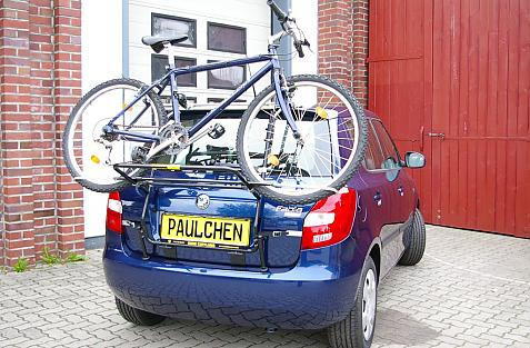 Skoda Fabia II Bike carrier loaded with bike