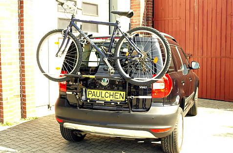 Skoda Yeti (5L) Bike carrier loaded with bike