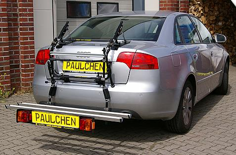 Audi A4 Stufenheck Bike carrier with comfort load extension in loading position. Without trailer hitch!