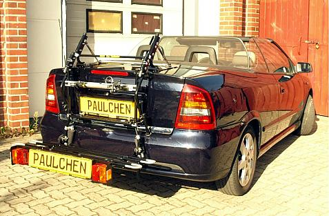 Opel Astra G Cabrio / Coupe Bike carrier with comfort load extension in loading position. Without trailer hitch!