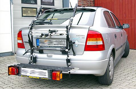 Opel Astra G Schrägheck Bike carrier with comfort load extension in loading position. Without trailer hitch!