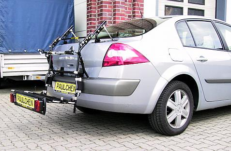Renault Megane II Stufenheck Bike carrier with comfort load extension in loading position. Without trailer hitch!