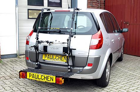 Renault Scenic Bike carrier with comfort load extension in loading position. Without trailer hitch!