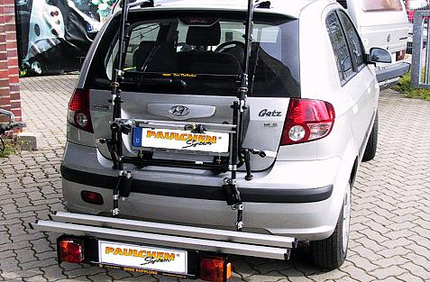 Hyundai Getz (TB) Bike carrier with comfort load extension in loading position. Without trailer hitch!
