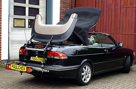 Saab 900 Cabrio (YS3D) Bike carrier with comfort load extension in loading position. Without trailer hitch!
