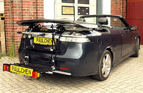 Saab 9-3 Cabrio (YS3F) Bike carrier with comfort load extension in loading position. Without trailer hitch!
